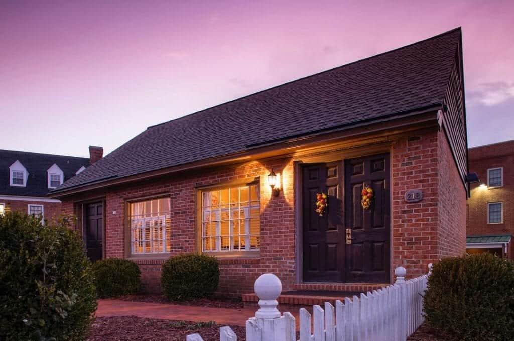 brick cottage brightly lit