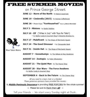 Free Summer Movies schedule