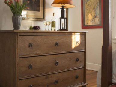 Wood dresser in George Washington Room at Fife and Drum Inn