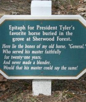 Epitaph sign for President Tyler's favorite horse