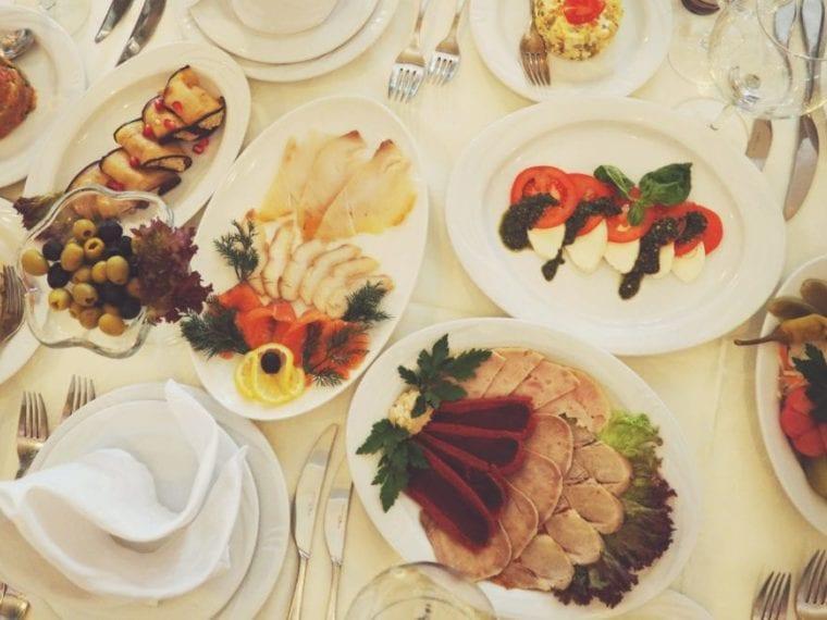 looking down on various types of foods