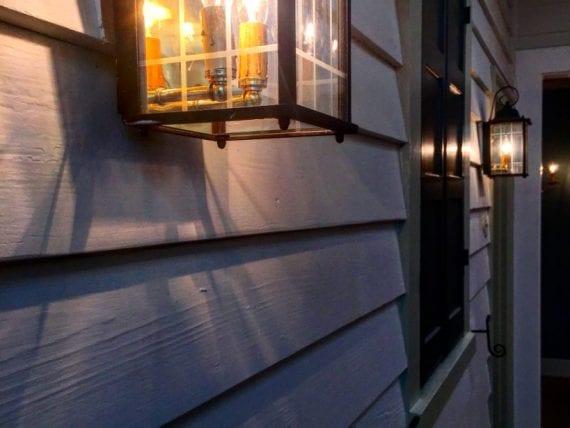 lantern on side of building brightly lit