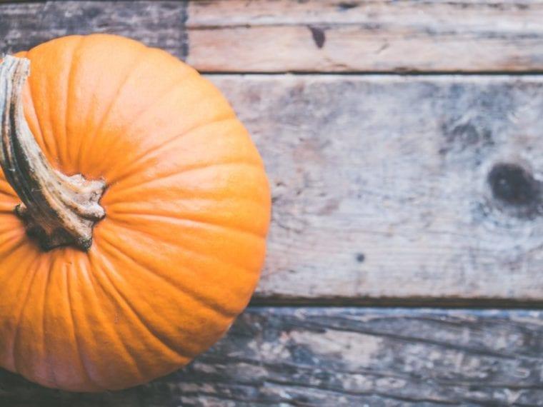 pumpkin on wood floor