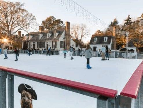 skating rink with several people skating